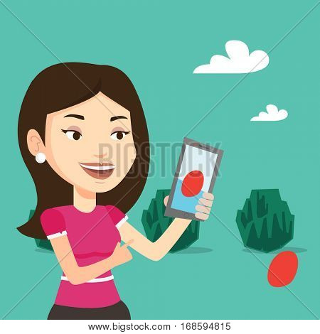 Young caucasian woman playing action game on smartphone. Young woman playing with her mobile phone outdoor. Woman using smartphone for playing games. Vector flat design illustration. Square layout.