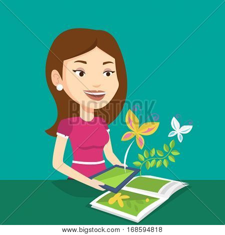 Young caucasian woman holding tablet computer above the book. Woman looking at butterflies flying out from digital tablet. Concept of agmented reality. Vector flat design illustration. Square layout.