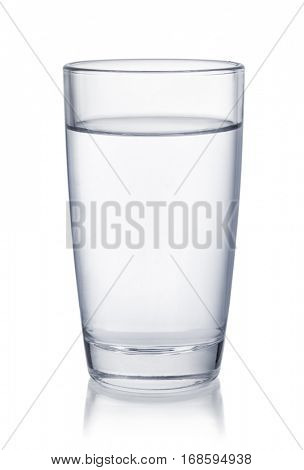 Front view of water glass isolated on white