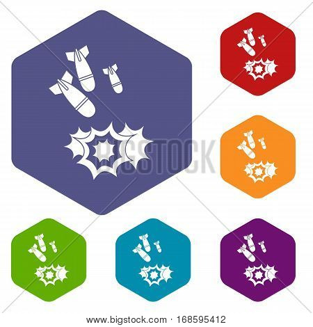 Bomb icons set rhombus in different colors isolated on white background