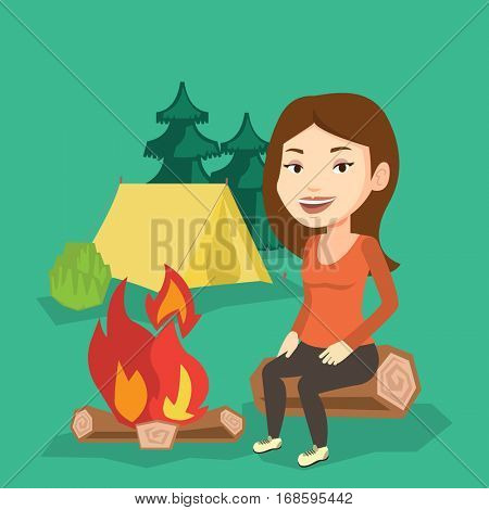 Young caucasian woman sitting near a campfire at a campsite. Travelling woman sitting on a log near a campfire. Smiling tourist relaxing near campfire. Vector flat design illustration. Square layout.