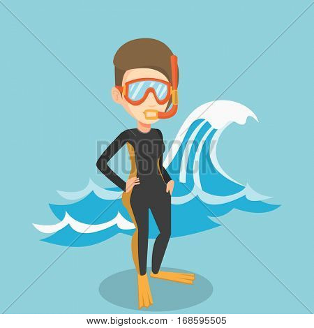Caucasian woman in diving suit, flippers, mask and tube standing on the background of a big wave. Diver enjoying snorkeling. Diver ready for snorkeling. Vector flat design illustration. Square layout.