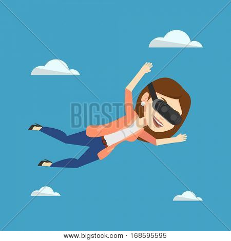 Woman wearing virtual reality headset and flying in the sky. Woman in vr device having fun while playing videogame. Woman flying in virtual reality. Vector flat design illustration. Square layout.