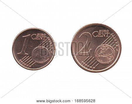One And Two Euro Cent (eur) Coins, European Union (eu) Isolated