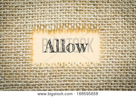 Text Allow on paper Orange has Cotton yarn background you can apply to your product.