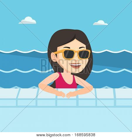 Happy caucasian woman relaxing in swimming pool at resort. Young woman bathing in swimming pool. Woman swimming and relaxing in pool on summer vacation. Vector flat design illustration. Square layout.