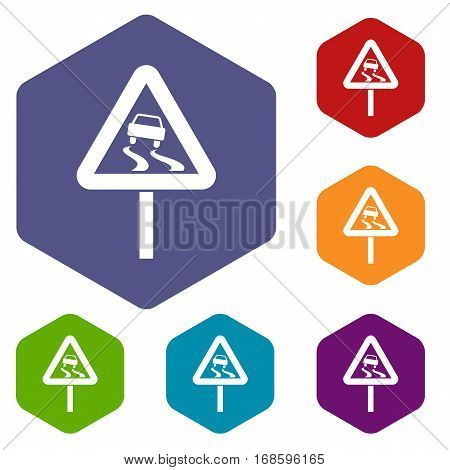Slippery when wet road sign icons set rhombus in different colors isolated on white background