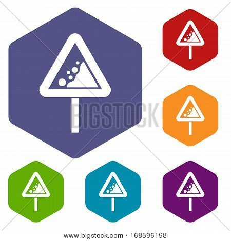 Falling rocks warning traffic sign icons set rhombus in different colors isolated on white background