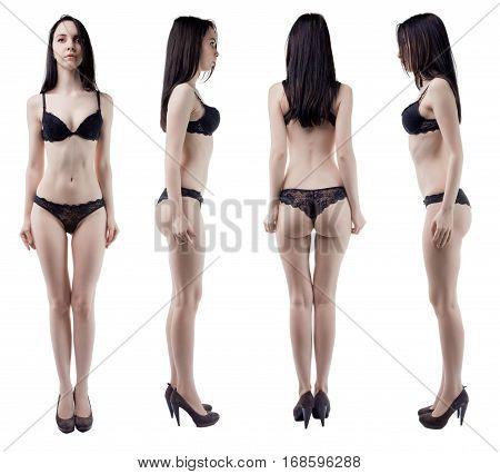 Turning around slim woman on white background
