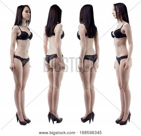 Turning around slim woman in lingerie on white background