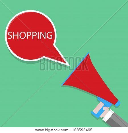 Announcement of shopping. Shouts megaphone speech bubble. Vector illustration