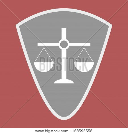 Badge scales of justice shield. Scale balance on element shield. Vector illustration