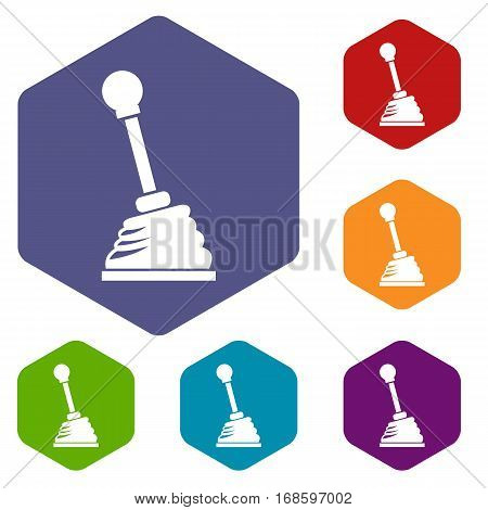 Gear stick icons set rhombus in different colors isolated on white background