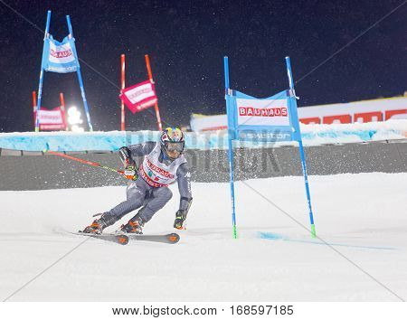 STOCKHOLM SWEDEN - JAN 31 2017: Stefano Gross (ITA) in the downhill skiing in the parallel slalom alpine event Audi FIS Ski World Cup. January 31 2017 Stockholm Sweden
