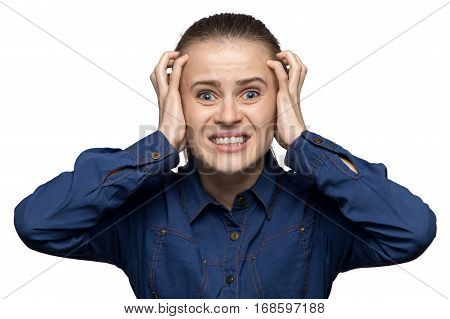 Portrait of yelling woman on white background