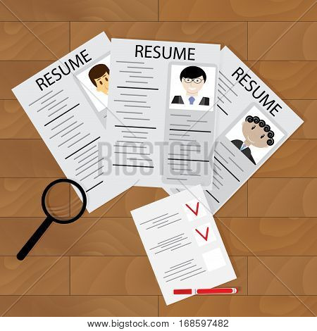 Selecting job hiring. Resource employee and career people candidate to company and checklist. Vector illustration