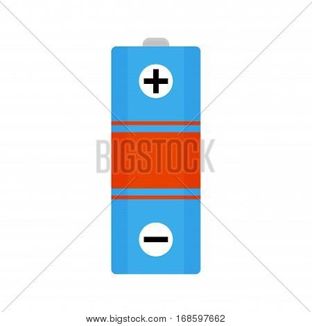 Battery vector flat. Energy power accumulator electrical alkaline battery illustration