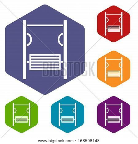 Playground simulator icons set rhombus in different colors isolated on white background