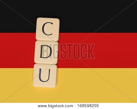 BERLIN GERMANY - FEBRUARY 3 2017: German Politics Concept: Letter Tiles CDU 3d illustration with German Flag