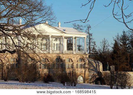 TSARSKOYE SELO (PUSHKIN) RUSSIA - JANUARY 04 2017: Cameron gallery the Catherine Palace in Pushkin suburb of Saint.