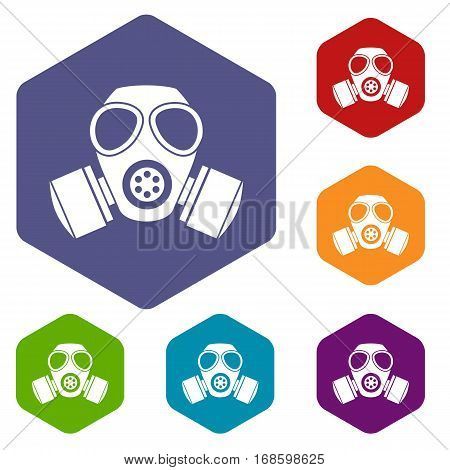 Chemical gas mask icons set rhombus in different colors isolated on white background