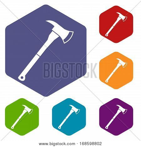 Firefighter axe icons set rhombus in different colors isolated on white background