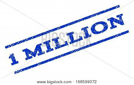 1 Million watermark stamp. Text caption between parallel lines with grunge design style. Rotated rubber seal stamp with scratched texture. Vector blue ink imprint on a white background.