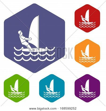 Man on windsurf icons set rhombus in different colors isolated on white background