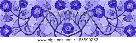 Illustration in stained glass style with abstract swirls flowers and leaves horizontal orientation gamma blue
