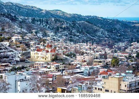 Winter mountain village landscape. Kakopetria Nicosia District Cyprus.