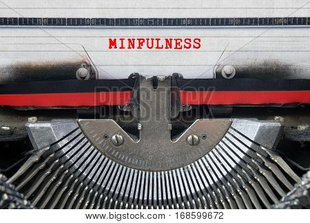 MINFULNESS Typed Words On a Vintage Typewriter Conceptual