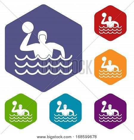 Water polo icons set rhombus in different colors isolated on white background