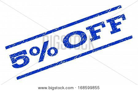 5 Percent Off watermark stamp. Text caption between parallel lines with grunge design style. Rotated rubber seal stamp with dirty texture. Vector blue ink imprint on a white background.