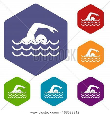 Swimmer icons set rhombus in different colors isolated on white background
