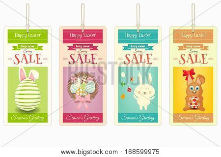 Easter Sale Tags. Isolated on White Background. Vector Illustration.