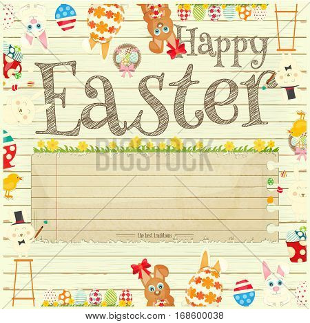 Happy Easter Greeting Card. Easter Bunny and Easter Eggs - Frame on White Wooden Background. Place for Text. Vector Illustration.