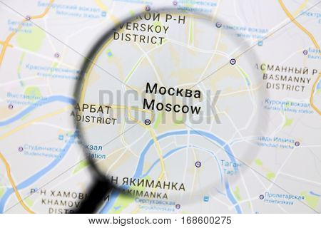 Ostersund, Sweden - January 14, 2017: Moscow on Google Maps under a magnifying glass. Moscow is the capital city of Russia