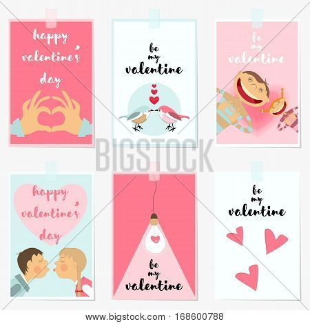 Valentines Day Greeting Cards Set. Love Posters for Wedding Invitation. Vector Illustration.