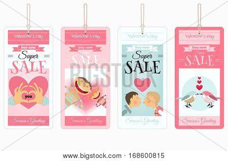 Valentines Day Sale Tags. Isolated on White Background. Vector Illustration.