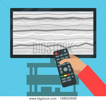 Hand holding remote controller and screen with interference