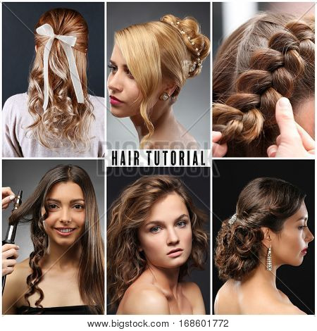 Collage of women hairstyles. Text HAIR TUTORIAL on background