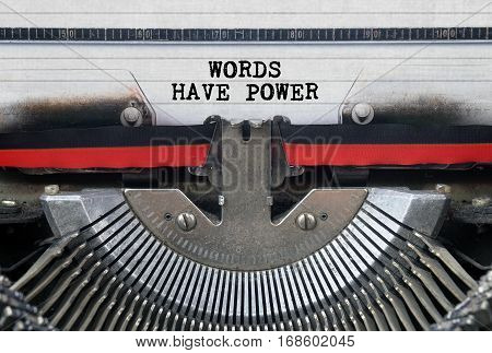 WORDS HAVE POWER Typed Words On a Vintage Typewriter Conceptual