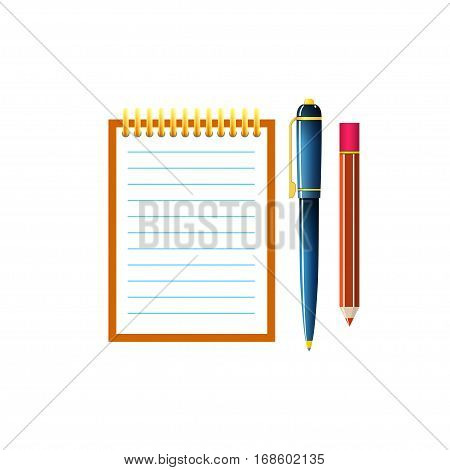 Notebook with a Pen and Pencil, Jotter Isolated on White Background, Office Equipment