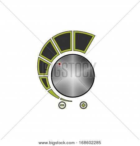 Volume Control Isolated on White Background, Power Control