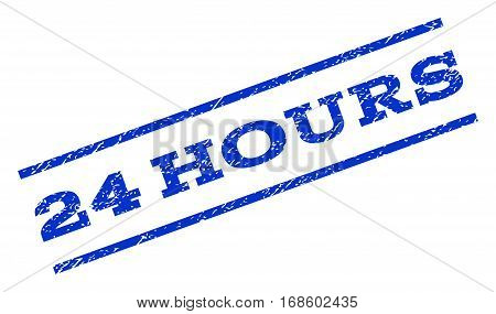 24 Hours watermark stamp. Text tag between parallel lines with grunge design style. Rotated rubber seal stamp with scratched texture. Vector blue ink imprint on a white background.