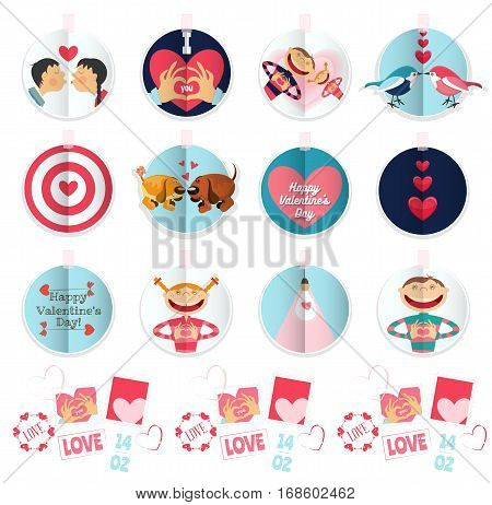 Happy Valentines Day Labels and Stickers Set Isolated on White Background. Love and Wedding Concept. Vector Illustration.