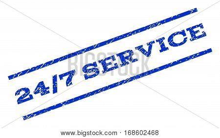 24-7 Service watermark stamp. Text tag between parallel lines with grunge design style. Rotated rubber seal stamp with unclean texture. Vector blue ink imprint on a white background.