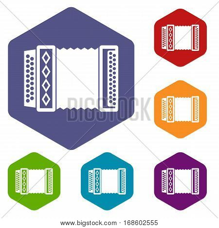 Accordion icons set rhombus in different colors isolated on white background