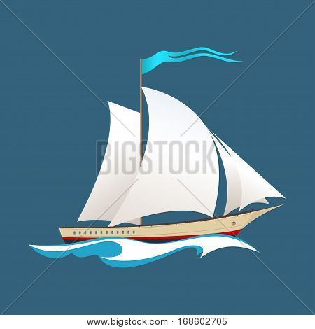 Yacht on the Waves, Sailing Vessel at Sea, Travel Concept
