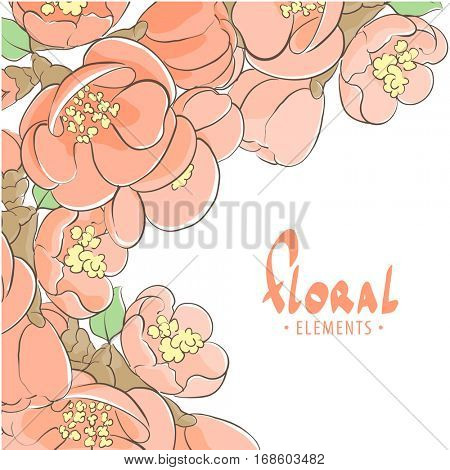Romantic apple tree floral background with place for text